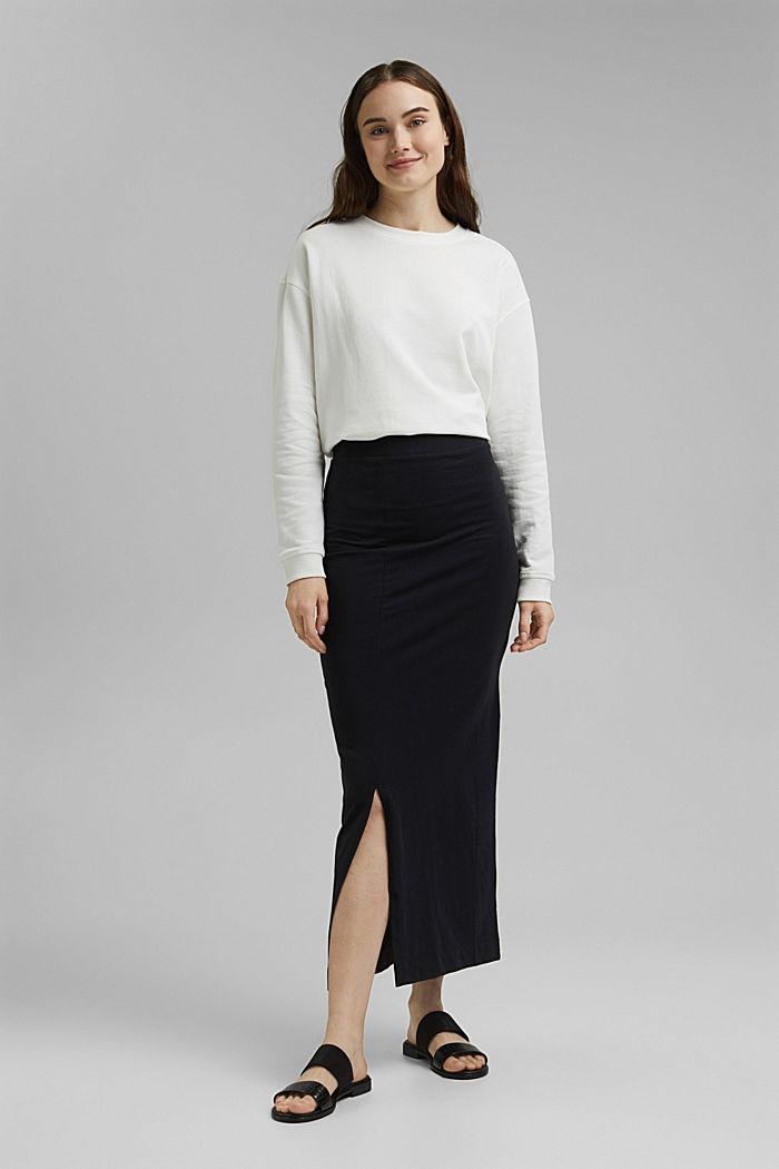 Jersey midi skirt, organic cotton, BLACK, detail image number 1