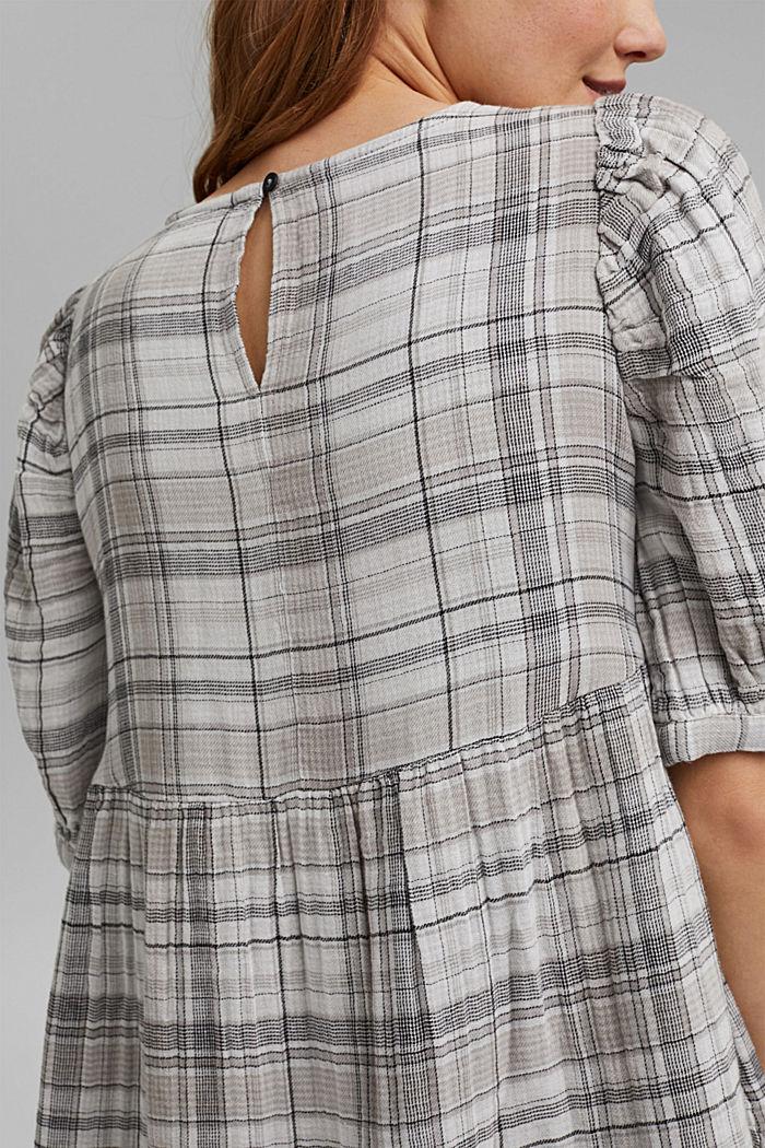 Geruite double face jurk van 100% katoen, BLACK, detail image number 6