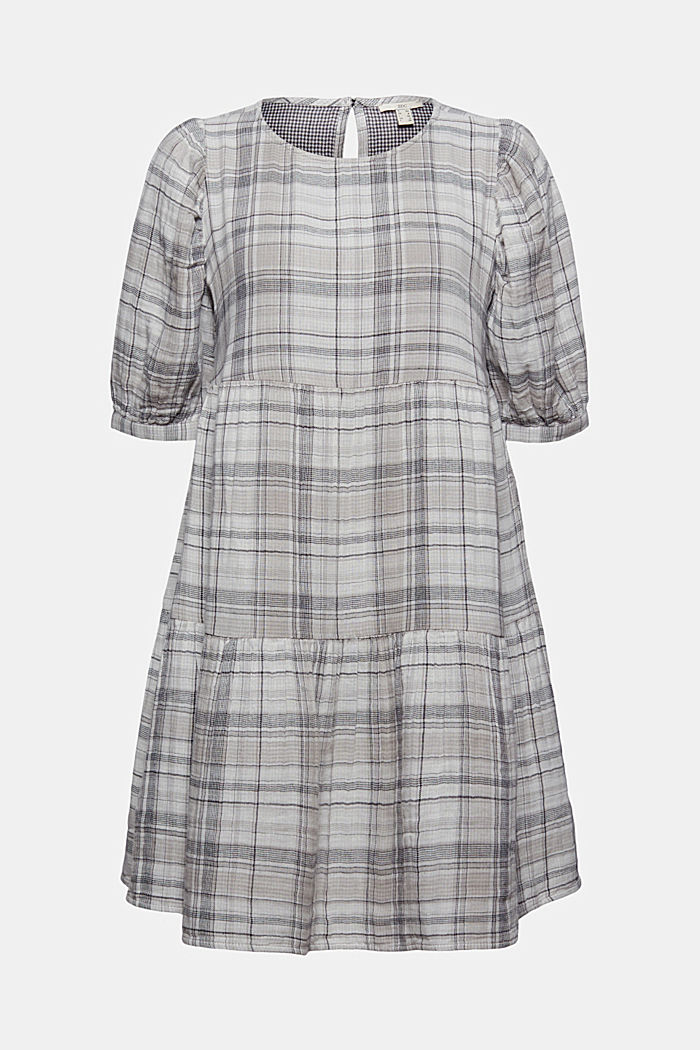 Geruite double face jurk van 100% katoen, BLACK, detail image number 7