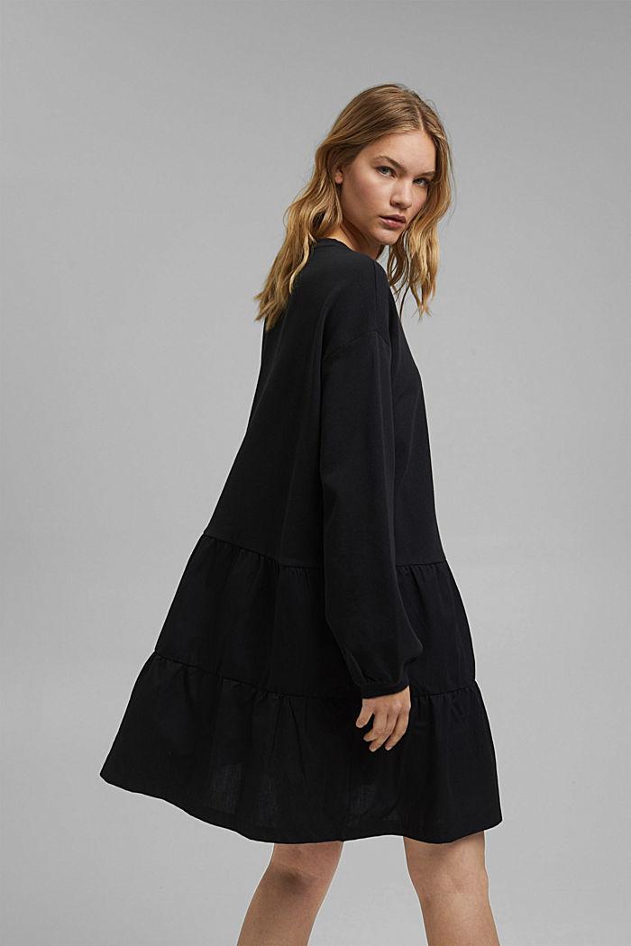 Mixed material sweatshirt dress, BLACK, detail image number 2