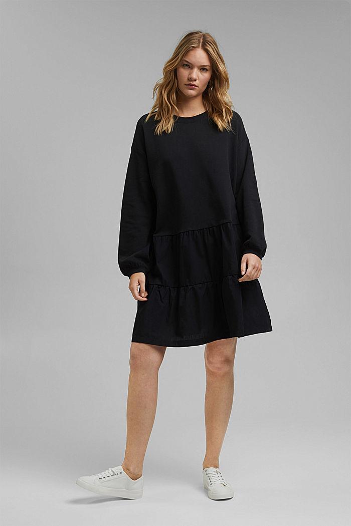 Mixed material sweatshirt dress, BLACK, detail image number 1