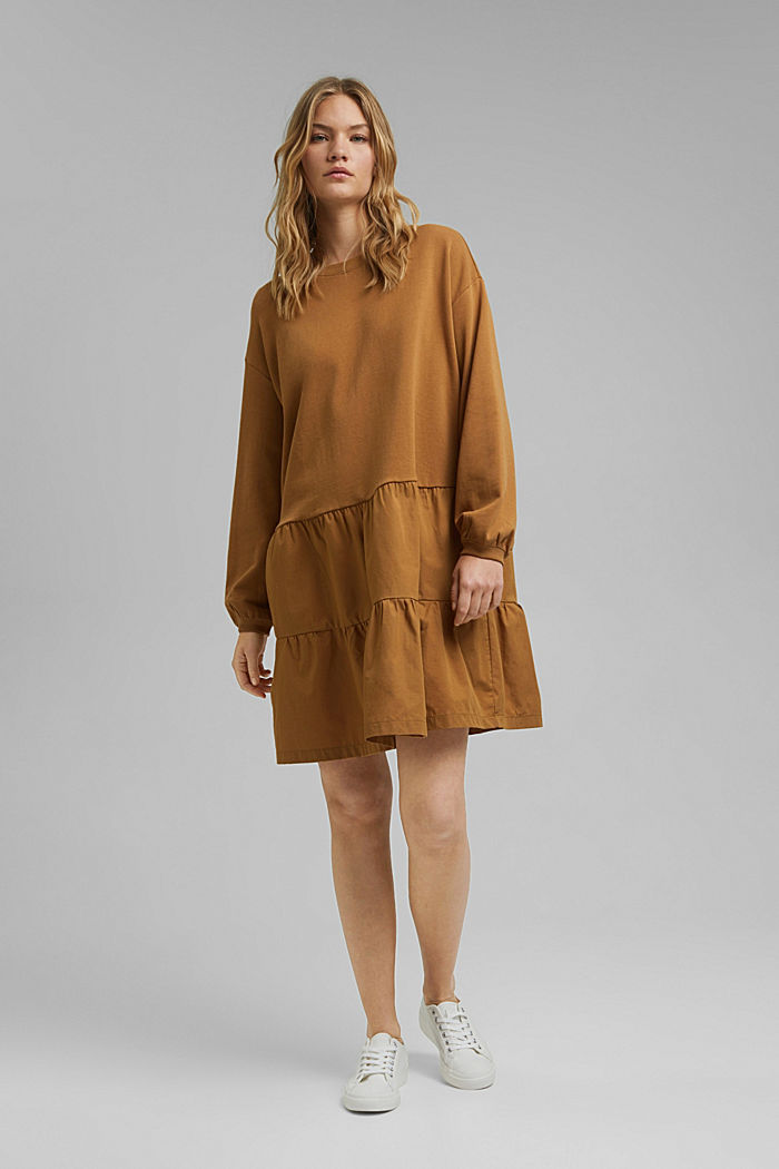 Sweatshirt-Kleid aus Material-Mix, BARK, detail image number 1