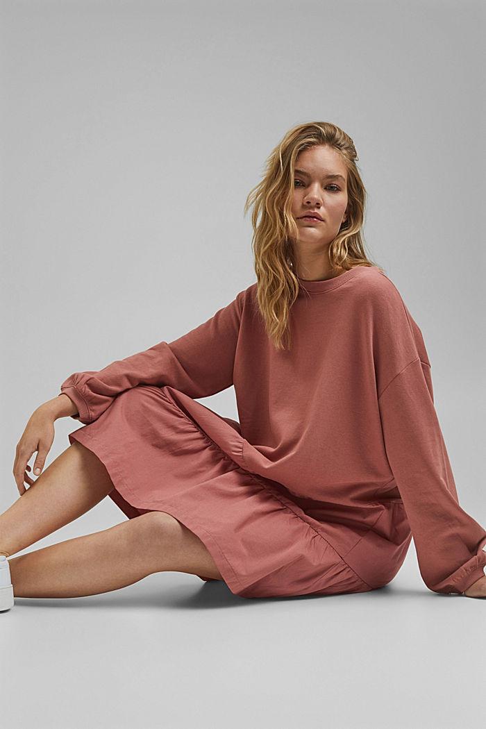 Mixed material sweatshirt dress, CORAL, detail image number 5