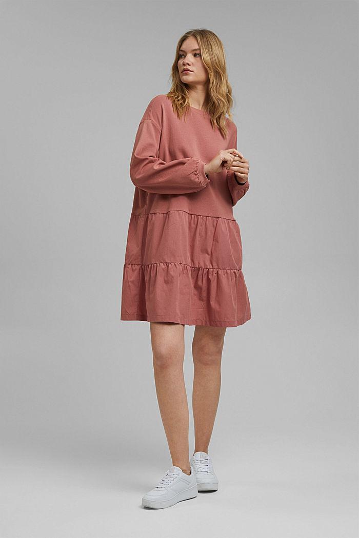 Mixed material sweatshirt dress, CORAL, detail image number 1