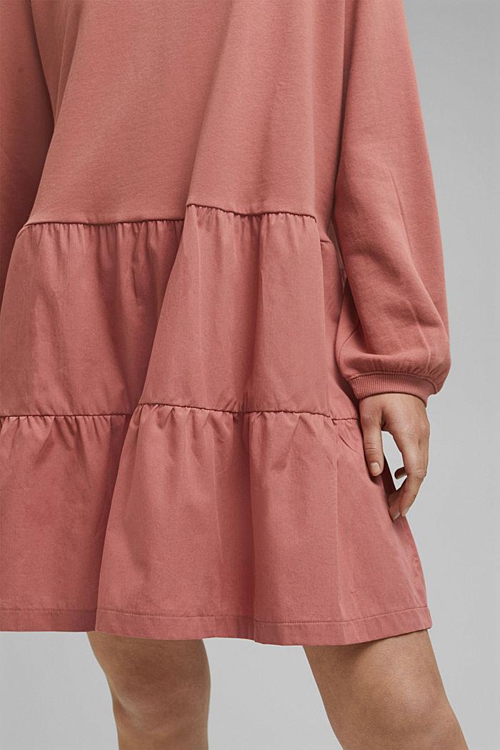 Mixed material sweatshirt dress, CORAL, detail image number 3