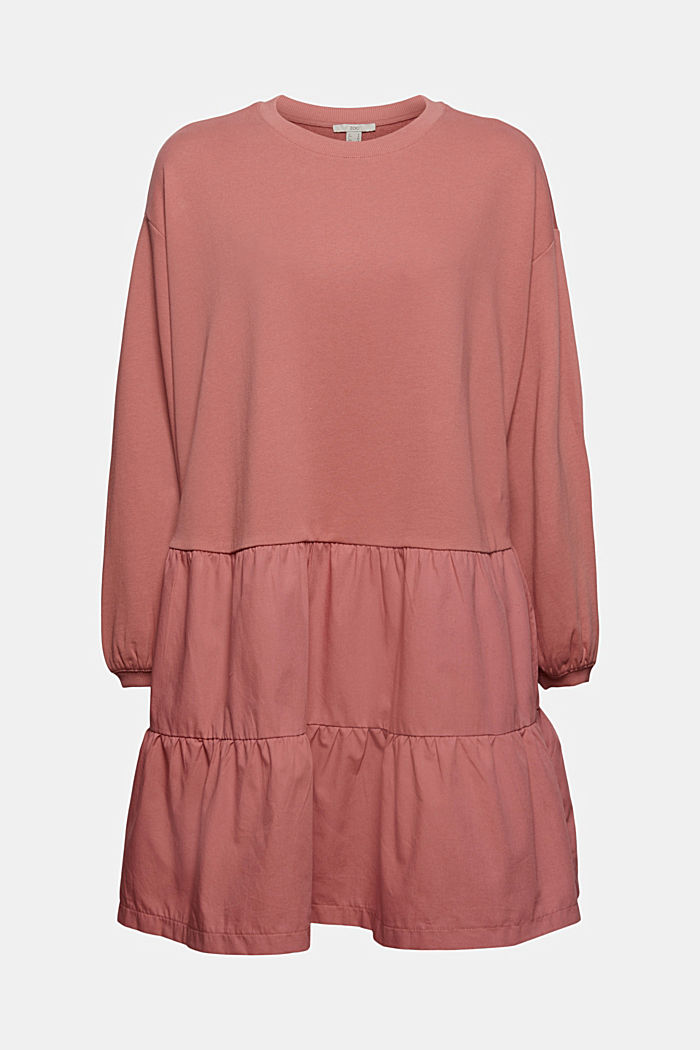 Sweatshirt-Kleid aus Material-Mix
