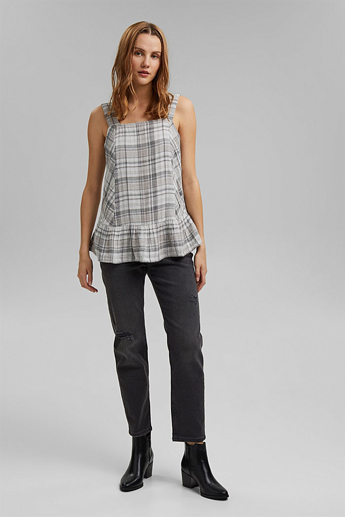 Double-faced check blouse top, 100% cotton, BLACK, detail image number 1