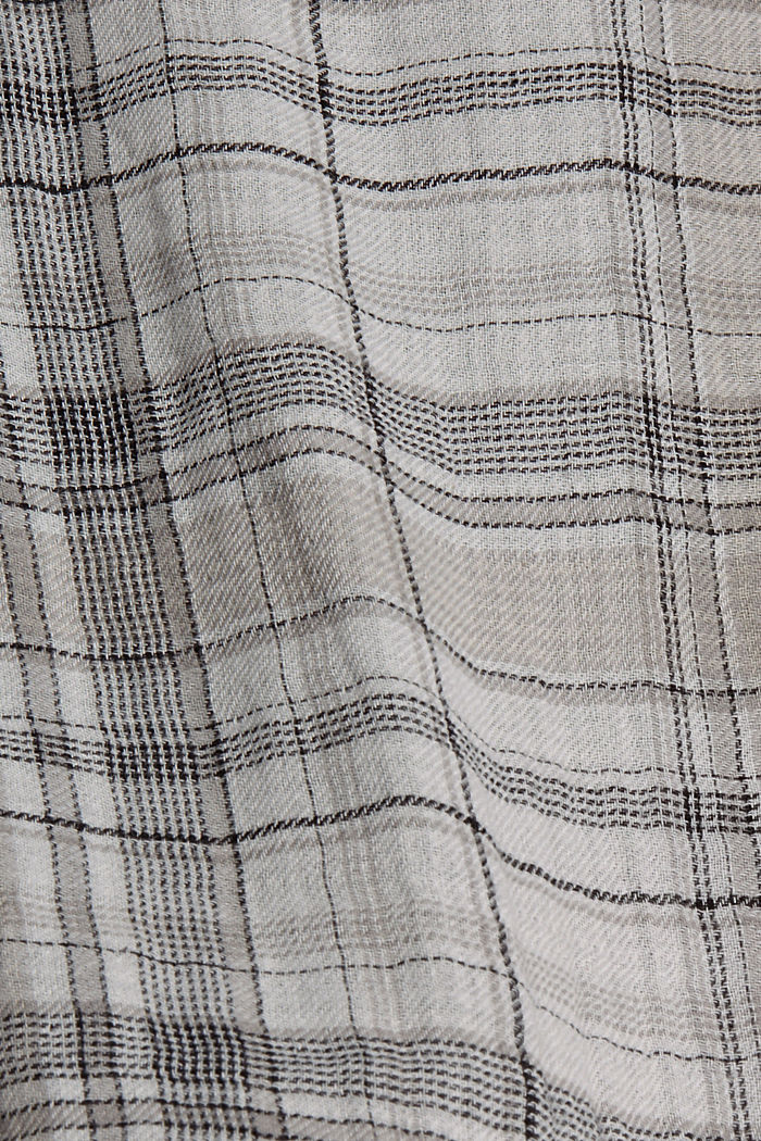 Double-faced check blouse top, 100% cotton, BLACK, detail image number 4