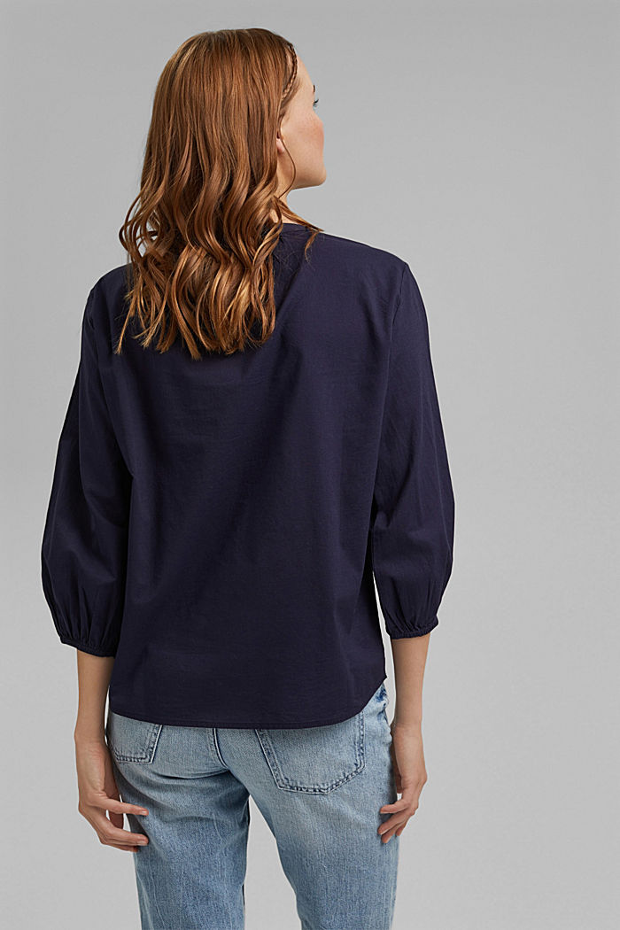 Blouse with 3/4-length sleeves, 100% cotton, NAVY, detail image number 3