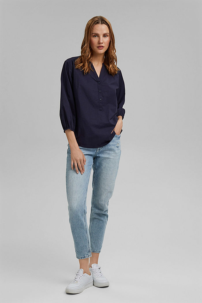 Blouse with 3/4-length sleeves, 100% cotton, NAVY, detail image number 1
