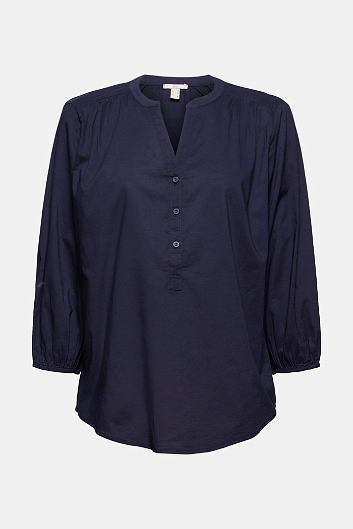 Blouse with 3/4-length sleeves, 100% cotton, NAVY, detail image number 5