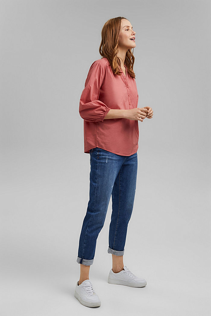 Blouse with 3/4-length sleeves, 100% cotton, CORAL, detail image number 1