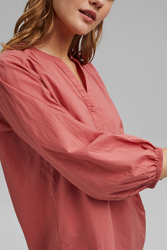 Blouse with 3/4-length sleeves, 100% cotton, CORAL, detail image number 2