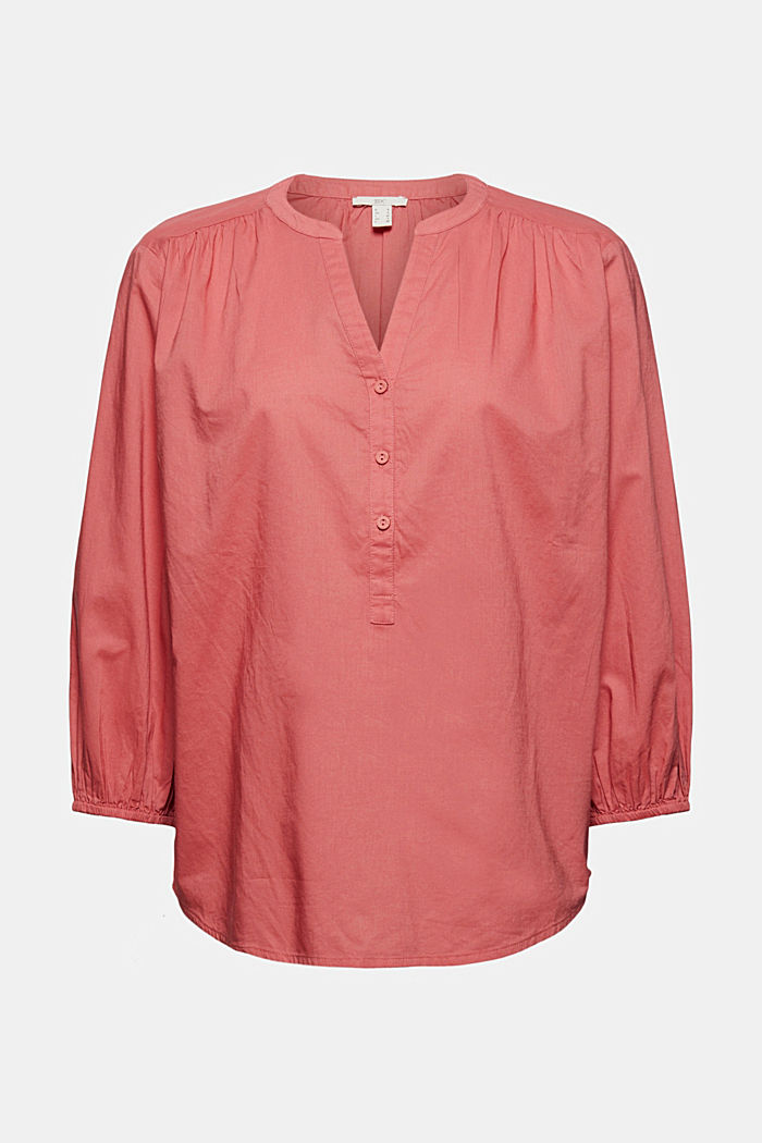 Blouse with 3/4-length sleeves, 100% cotton, CORAL, detail image number 6