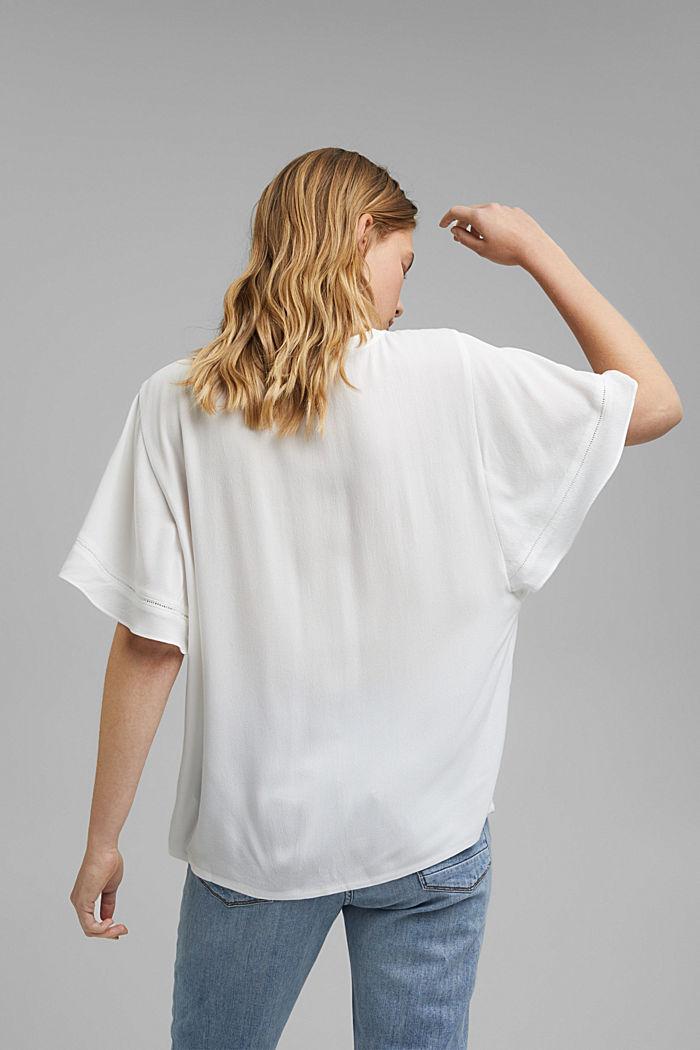 Kurzärmelige Bluse aus LENZING™ ECOVERO™, OFF WHITE, detail image number 3