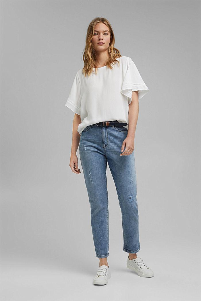 Kurzärmelige Bluse aus LENZING™ ECOVERO™, OFF WHITE, detail image number 1