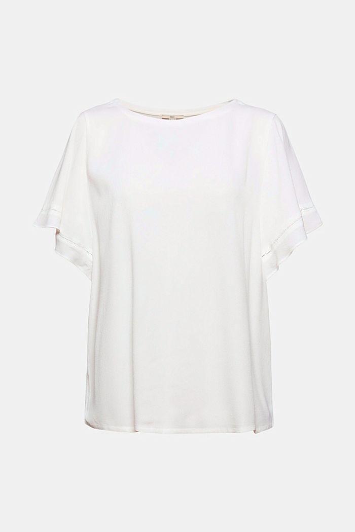 Kurzärmelige Bluse aus LENZING™ ECOVERO™, OFF WHITE, detail image number 7