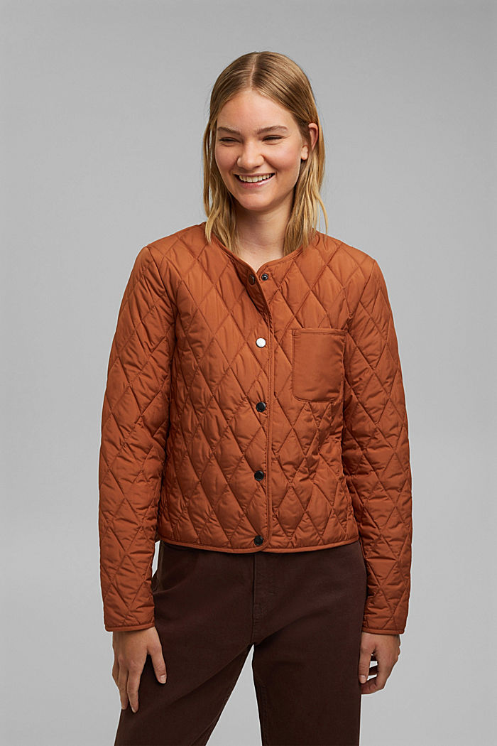 Lightweight quilted jacket made of recycled materials, CINNAMON, detail image number 0