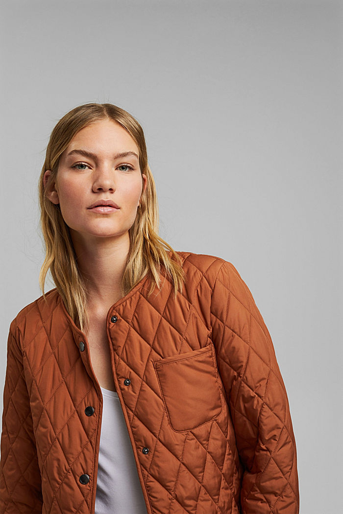 Lightweight quilted jacket made of recycled materials, CINNAMON, detail image number 6