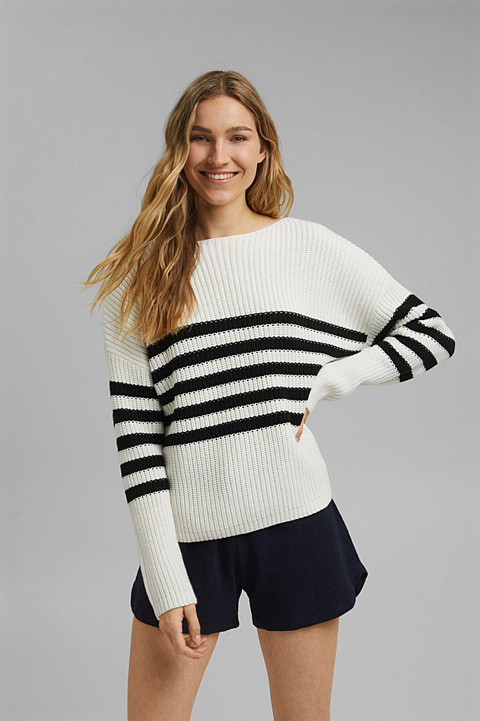 Striped jumper made of blended organic cotton, OFF WHITE, detail image number 0