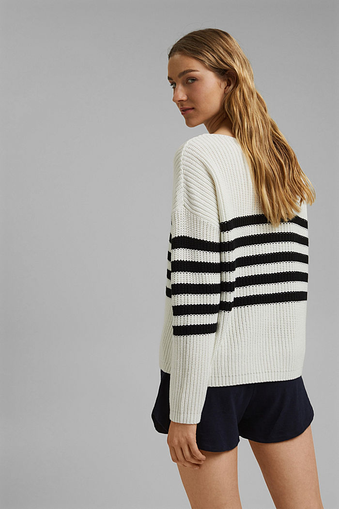 Striped jumper made of blended organic cotton, OFF WHITE, detail image number 3