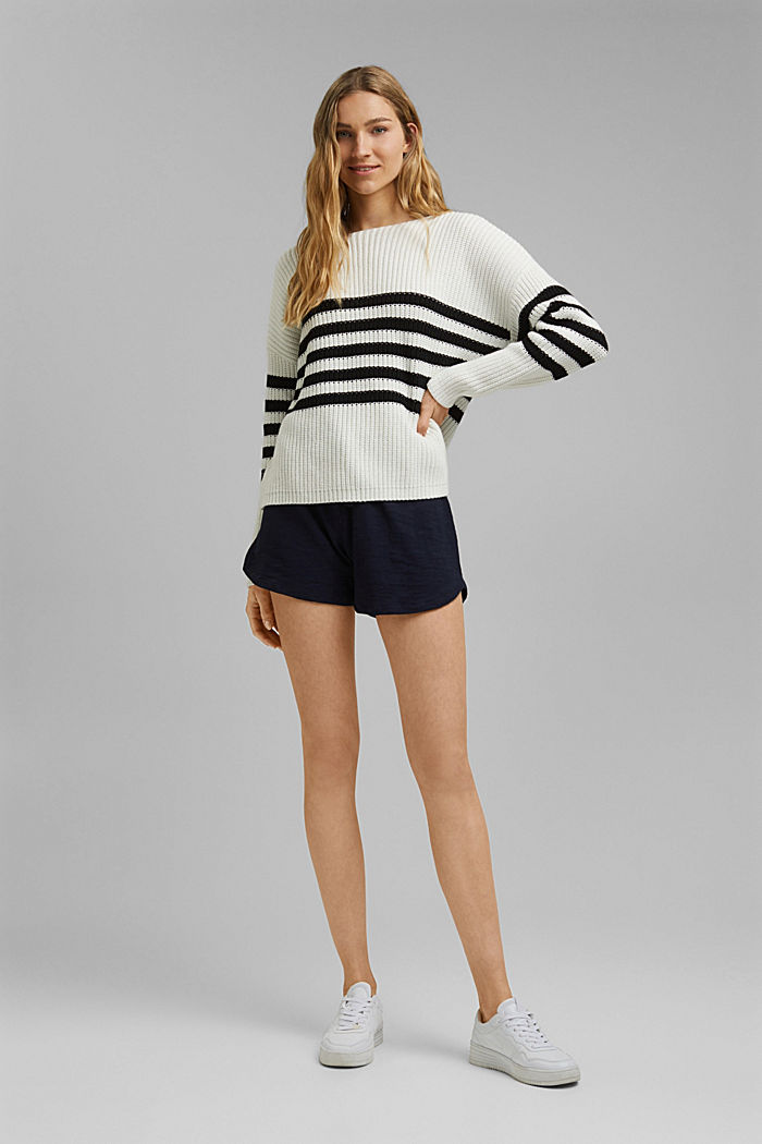 Striped jumper made of blended organic cotton, OFF WHITE, detail image number 1