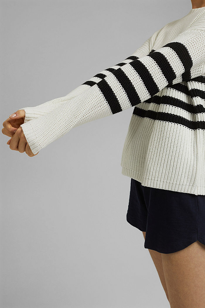 Striped jumper made of blended organic cotton, OFF WHITE, detail image number 2
