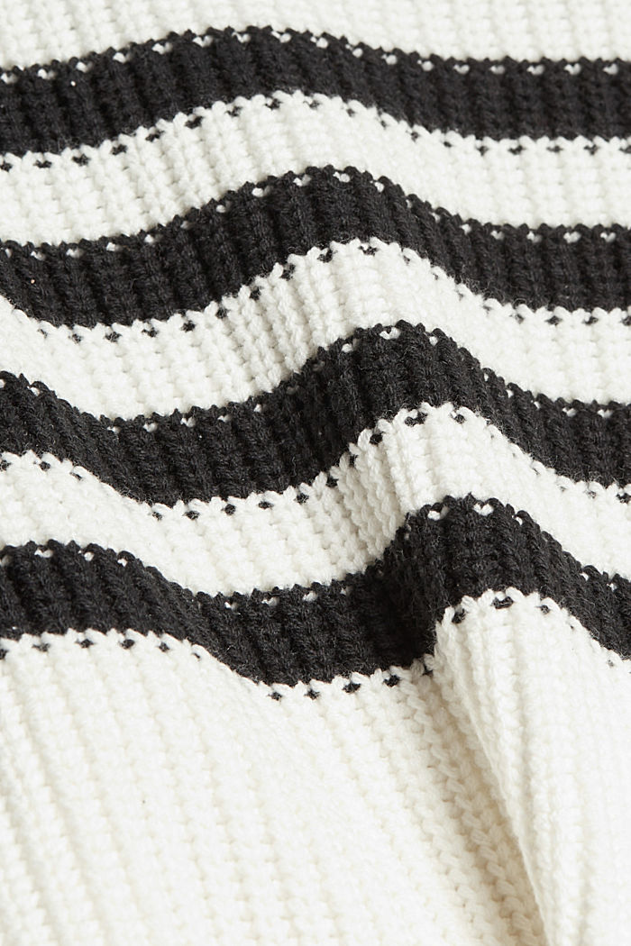 Striped jumper made of blended organic cotton, OFF WHITE, detail image number 4