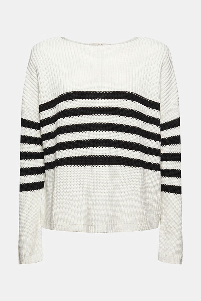 Striped jumper made of blended organic cotton, OFF WHITE, detail image number 5