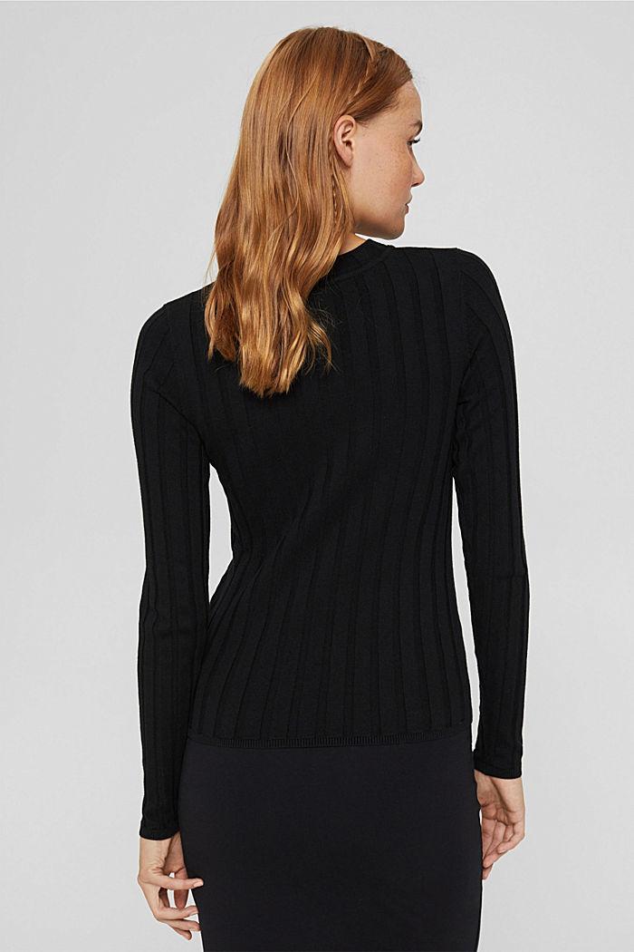 Ribgebreide trui van een mix met biologisch katoen, BLACK, detail image number 3