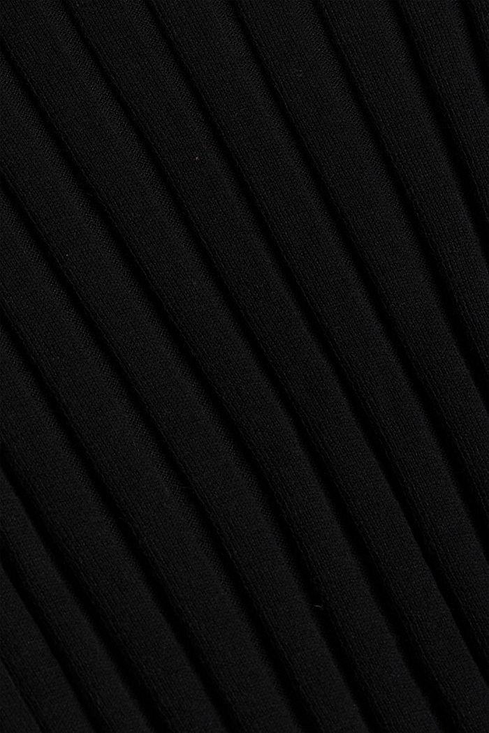 Ribgebreide trui van een mix met biologisch katoen, BLACK, detail image number 4