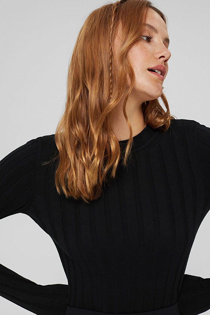 Ribgebreide trui van een mix met biologisch katoen, BLACK, detail image number 5