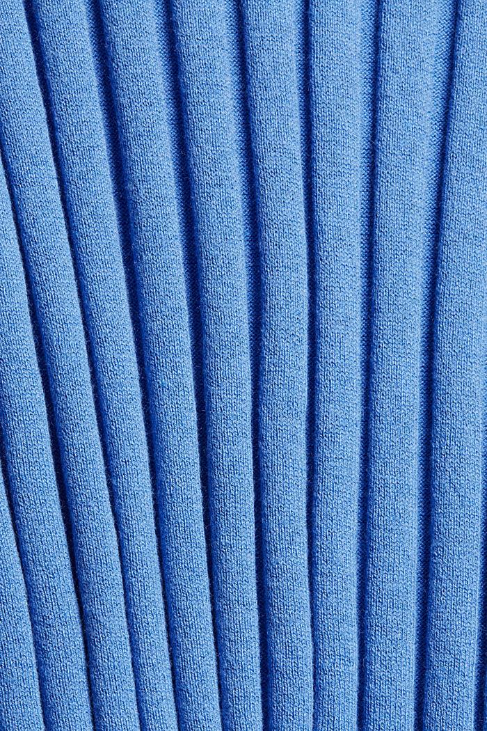 Rippstrickpullover aus Bio-Baumwoll-Mix, BRIGHT BLUE, detail image number 4
