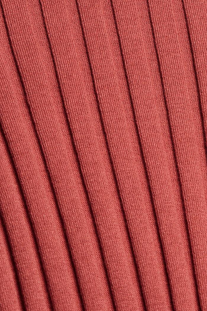 Pull-over en maille côtelée, coton biologique mélangé, CORAL, detail image number 4