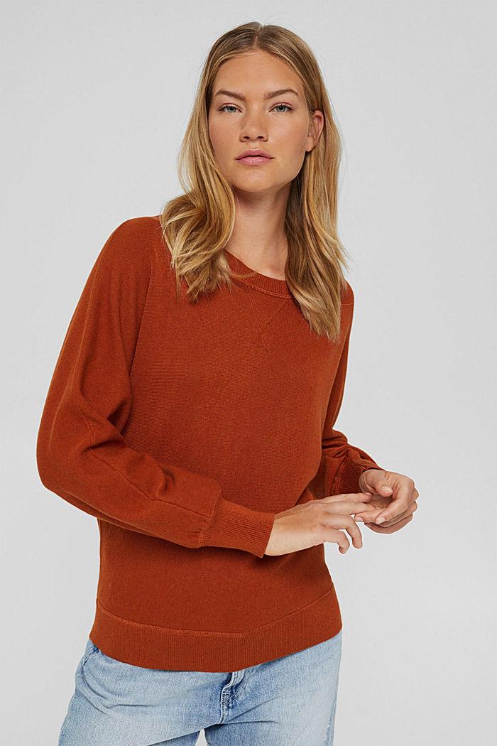 Pullover aus 100% Organic Cotton, RUST ORANGE, detail image number 0