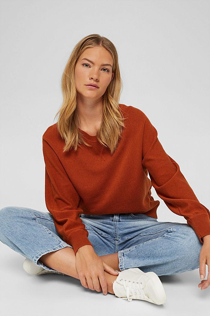 Pullover aus 100% Organic Cotton, RUST ORANGE, detail image number 5