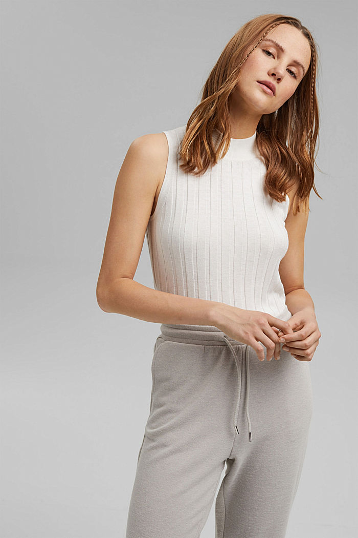 Sleeveless jumper with stand-up collar, blended organic cotton, OFF WHITE, detail image number 0