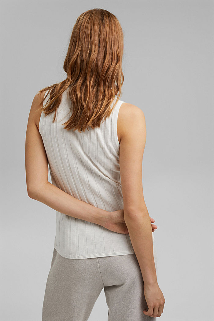 Sleeveless jumper with stand-up collar, blended organic cotton, OFF WHITE, detail image number 3