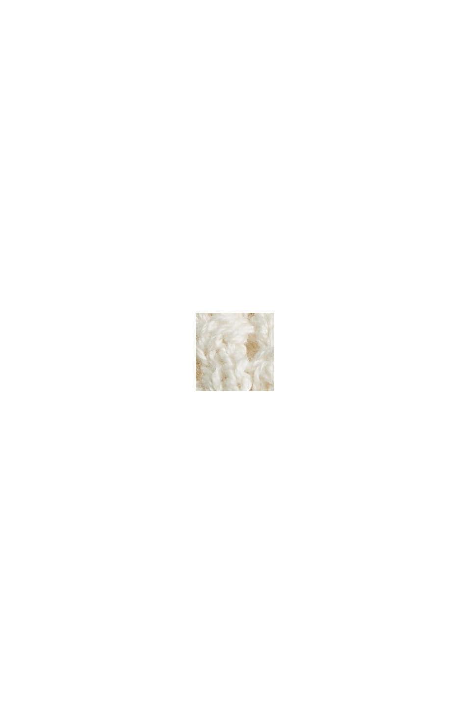 Strikket pullover med hætte, økologisk bomuld, LIGHT BEIGE, swatch