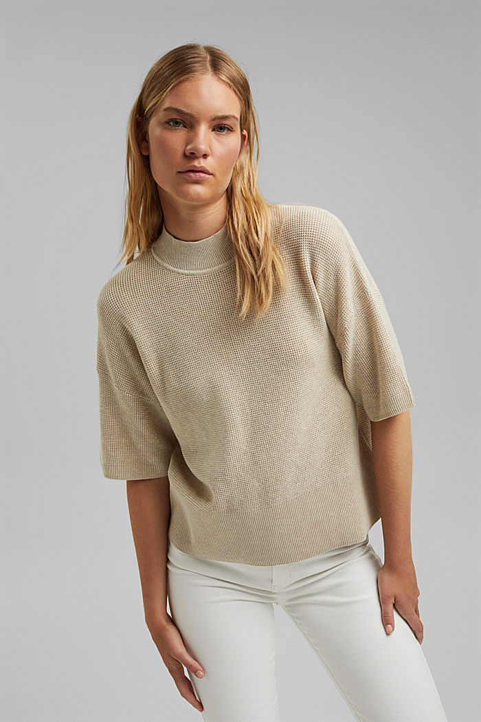 Jumper with short sleeves, organic cotton