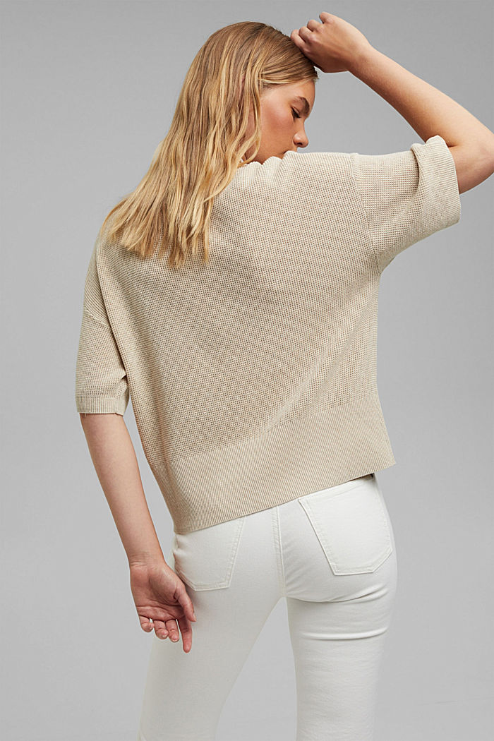 Jumper with short sleeves, organic cotton, BEIGE, detail image number 3