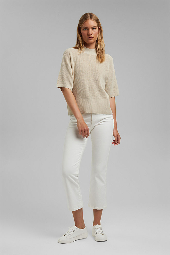 Jumper with short sleeves, organic cotton, BEIGE, detail image number 5
