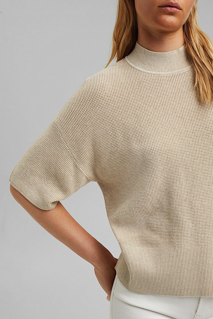 Jumper with short sleeves, organic cotton, BEIGE, detail image number 2