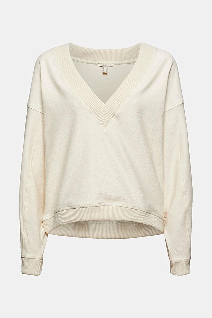Sweat-shirt à encolure en V en coton biologique stretch
