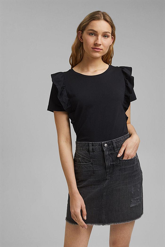 T-Shirt mit Volants, 100% Bio-Baumwolle, BLACK, detail image number 0