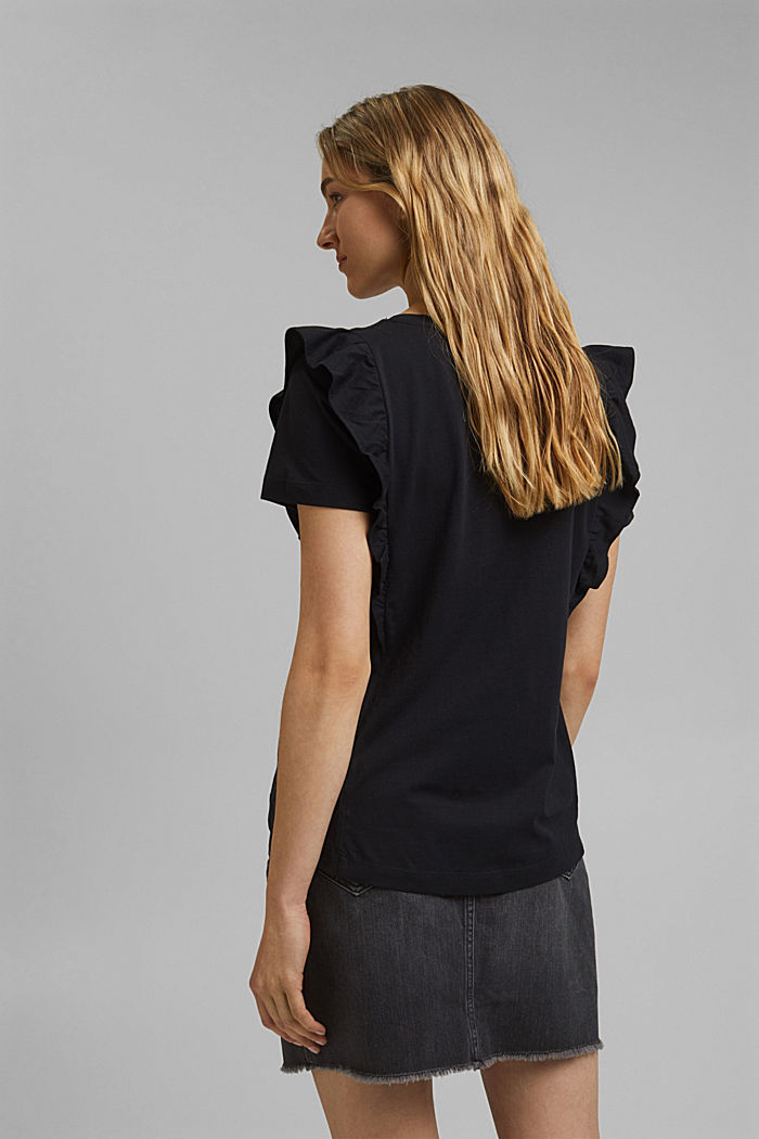 T-Shirt mit Volants, 100% Bio-Baumwolle, BLACK, detail image number 3