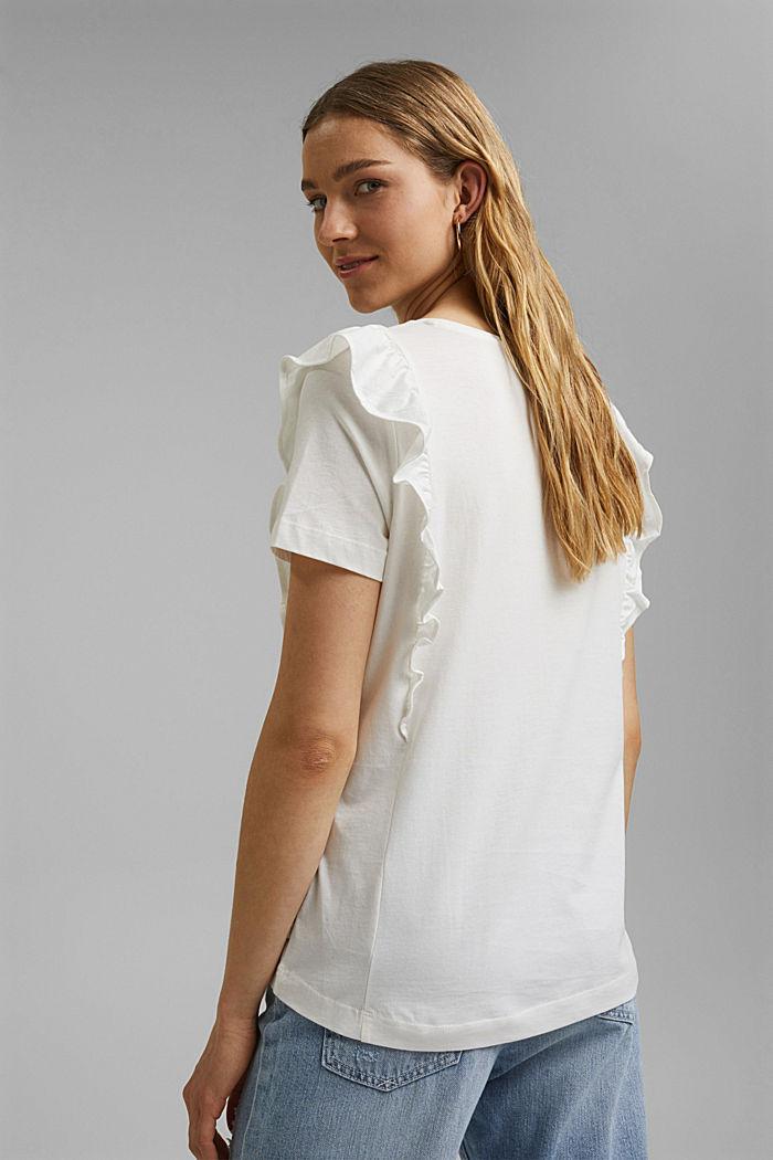 T-Shirt mit Volants, 100% Bio-Baumwolle, OFF WHITE, detail image number 3