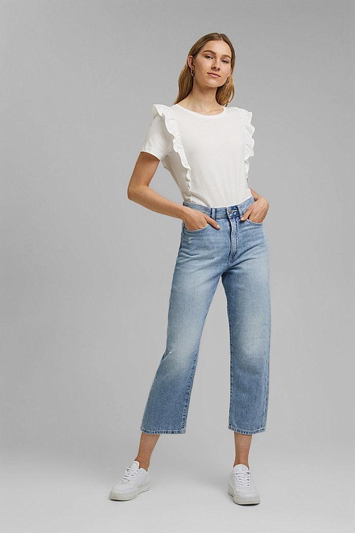 T-Shirt mit Volants, 100% Bio-Baumwolle, OFF WHITE, detail image number 1