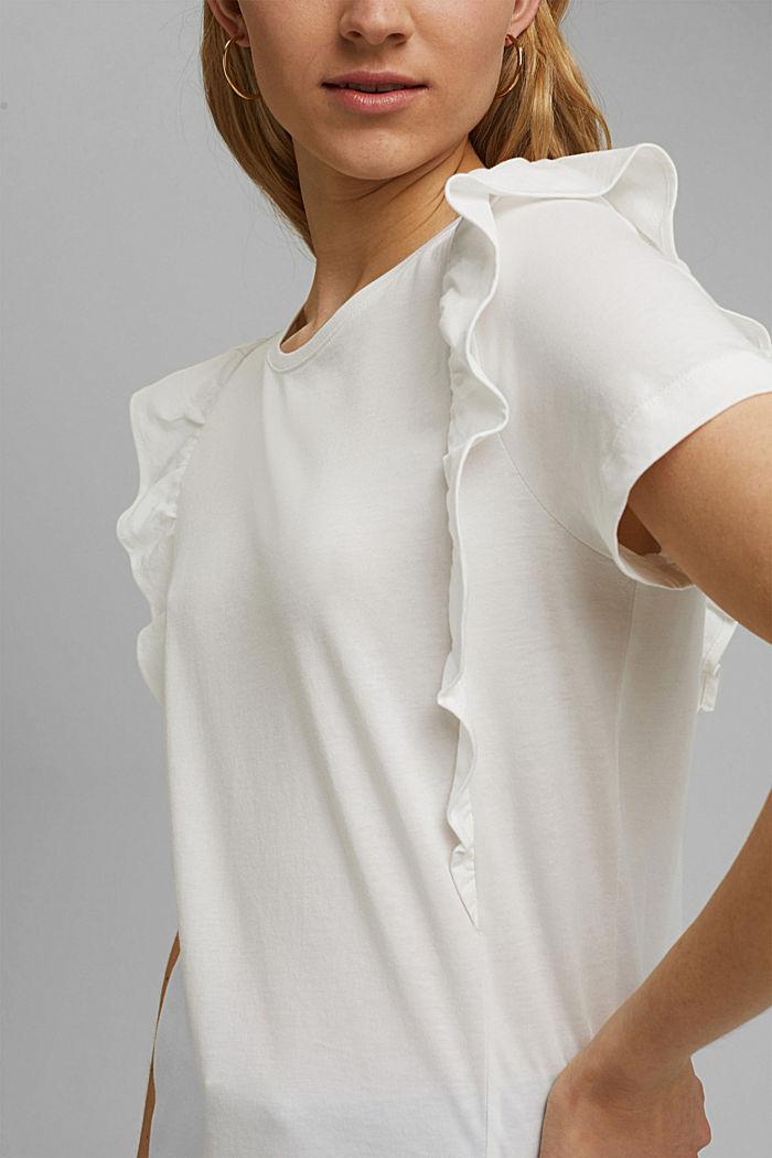 T-Shirt mit Volants, 100% Bio-Baumwolle, OFF WHITE, detail image number 2
