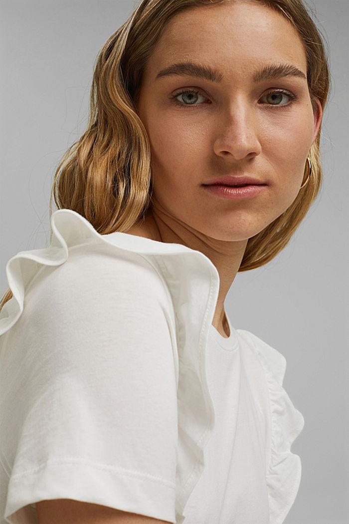 T-Shirt mit Volants, 100% Bio-Baumwolle, OFF WHITE, detail image number 5